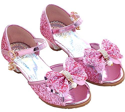 VECJUNIA Mädchen Sequins PU Leder Schnalle Kleid Hochzeit Prinzessin Sandalen Heel Abendschuhe Mary Jane Pumps Pink