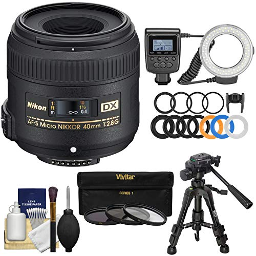 - Nikon 40mm f/2.8 G DX AF-S Micro-Nikkor Lens with Ring Light + Macro Tripod + 3 UV/CPL/ND8 Filters + Kit