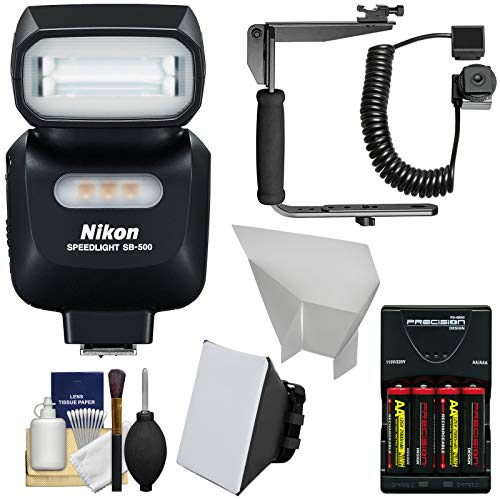 Nikon SB-500 AF Speedlight Flash & LED Video Light with Bracket + Batteries & Charger + Softbox + Reflector Kit