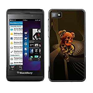 MobileHut / Blackberry Z10 / Skull Gold Red Death Abstract Vortex / Delgado Negro Plástico caso cubierta Shell Armor Funda Case Cover