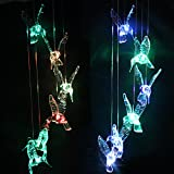 Brainydeal® Solar Power Color Changing Led Hummingbird Wind Chimes Window Garden Decoration
