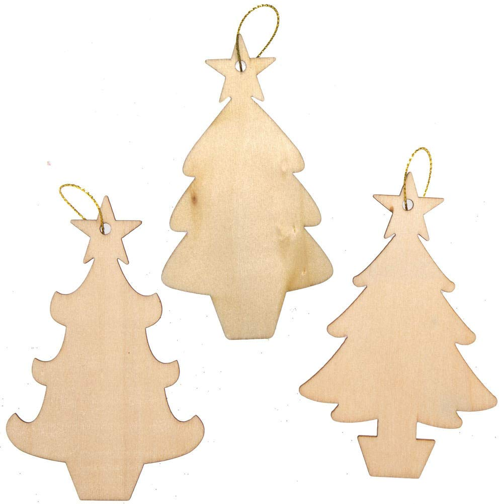 Ideal Para Proyectos De Artes Y Manualidades Para Ni/ños Paquete De 12 Baker Ross AX425 Decoraciones De Madera Para /Árbol De Navidad Ideal Para La Escuela