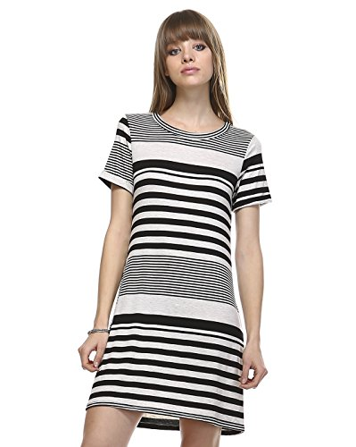 Today Showroom Round Neck Casual T Shirt Dress (Large, Oatmeal Black Stripe)