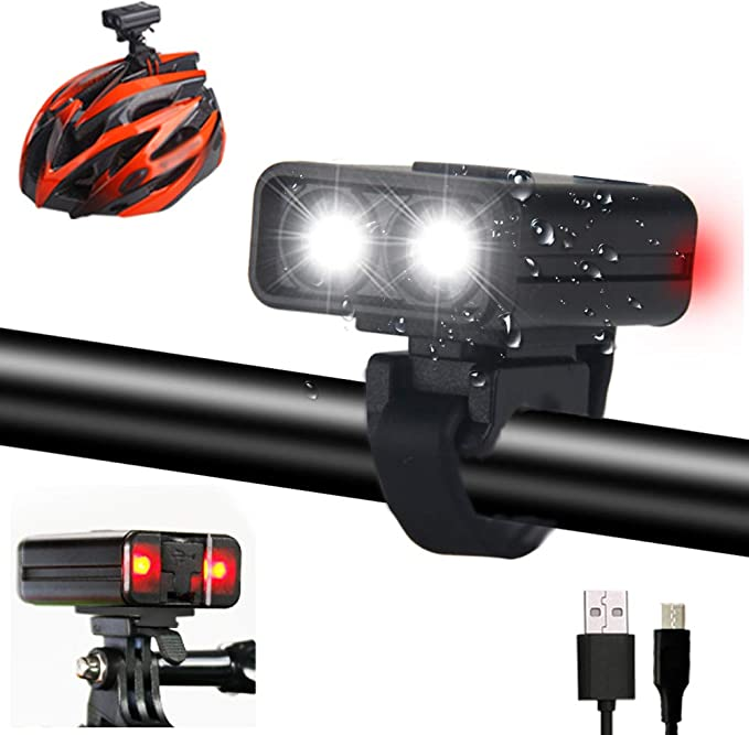 Rechargeable 2000 Lumens Front Head Light Kit Azur Helmet Mount