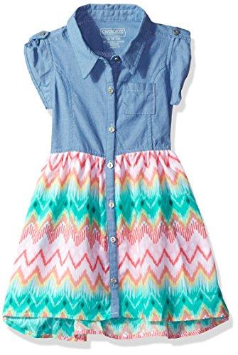 Cherokee Girls' Toddler' Chambray Dress with Challis Skirt Sweep, Blue, - Skirt Girls Cherokee
