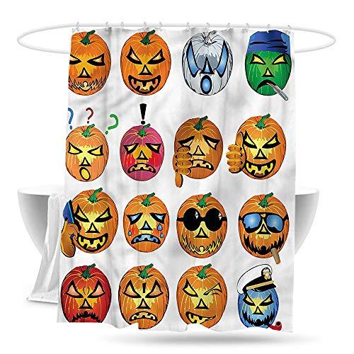 Sweet decoration Custom Shower Curtain Halloween Pumpkin Emoji Waterproof Colorful Funny 70in×70in]()