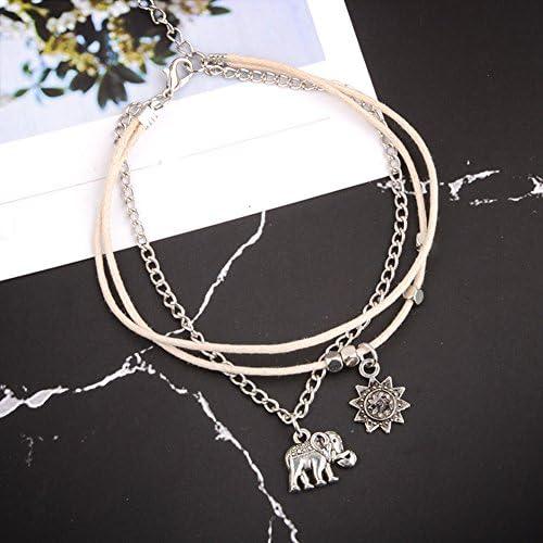 LIUCM Moon Pendant Bead Chain Exquisite Bracelet Women Fashion Anklet Jewelry 4pcs//Set