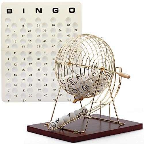 Sport Brass - GSE Games & Sports Expert Professional Bingo Game Set. Including Extra Large Brass Bingo Cage, 1.5-Inch Ping Pong Style Bingo Balls, Plastic Masterboard (Wooden Base Cage)