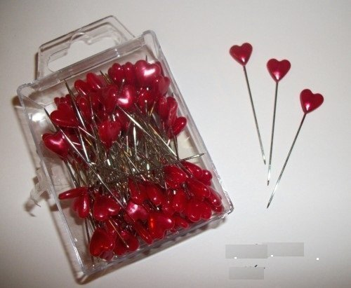 80 red heart pins head/hat/corage/millinery wedding buttonholes