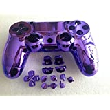 YHC Replacement Chrome Plating Housing Shell Case Cover Part+Buttons for PS4 Controller DualShock4 Color Purple