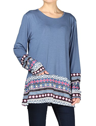 Minibee Women's Long Sleeve Tunic Round Neck Patchwork Pullover Shirt Tops With Pockets Blue 2XL