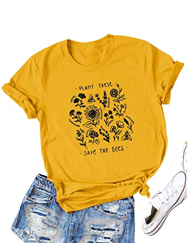 Dresswel Women Plant These Save The Bees T-Shirt Crew Neck Short Sleeve Tee Bee Top Graphic T Shirt