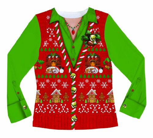 Womens Xmas Costumes (Faux Real Women's Ugly Xmas Sweater Vest Long Sleeve T-Shirt, Multi, Large)