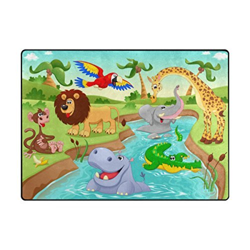 My Little Nest Cartoon African Jungle Animals Kids Play Mat Baby Crawling Carpet Non Slip Soft Educational Area Rug for Living Room Bedroom Classroom 4'10