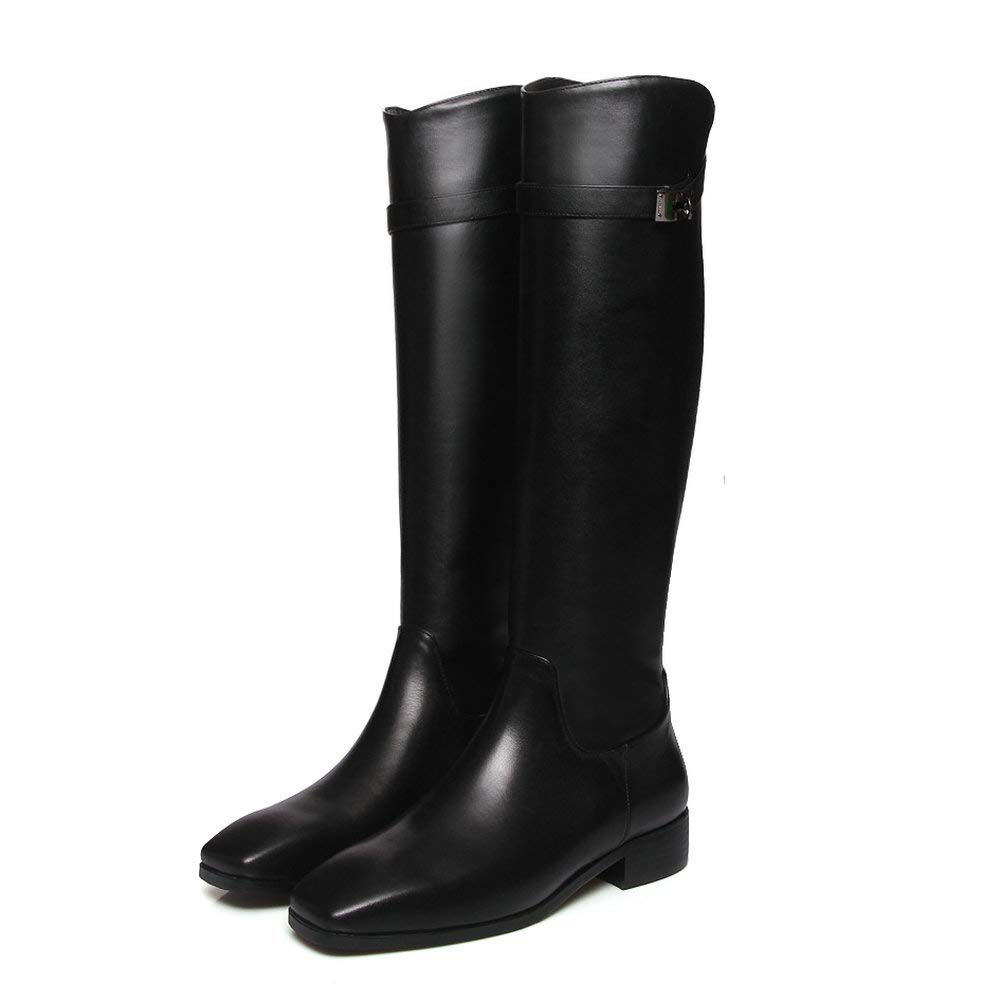 Black Fashion Knee High Riding Boot Women Genuine Leather Square Toe Strappy Buckle Low Chunky Heel Motorcycle Boot Black