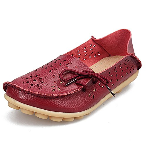 - SHIBEVER Women's Leather Loafers Moccasins Wild Driving Casual Flats Oxfords Breathable Shoes Burgundy-2 9