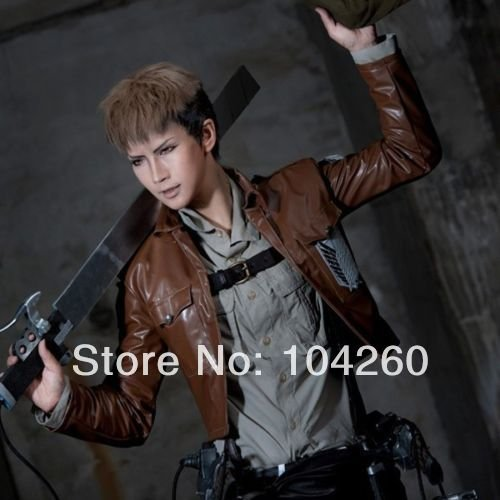 Smile Attack on Titan Jean Kirstein Linen Brown Mixed Short Cosplay Costume (Jean Kirstein Cosplay Costume)