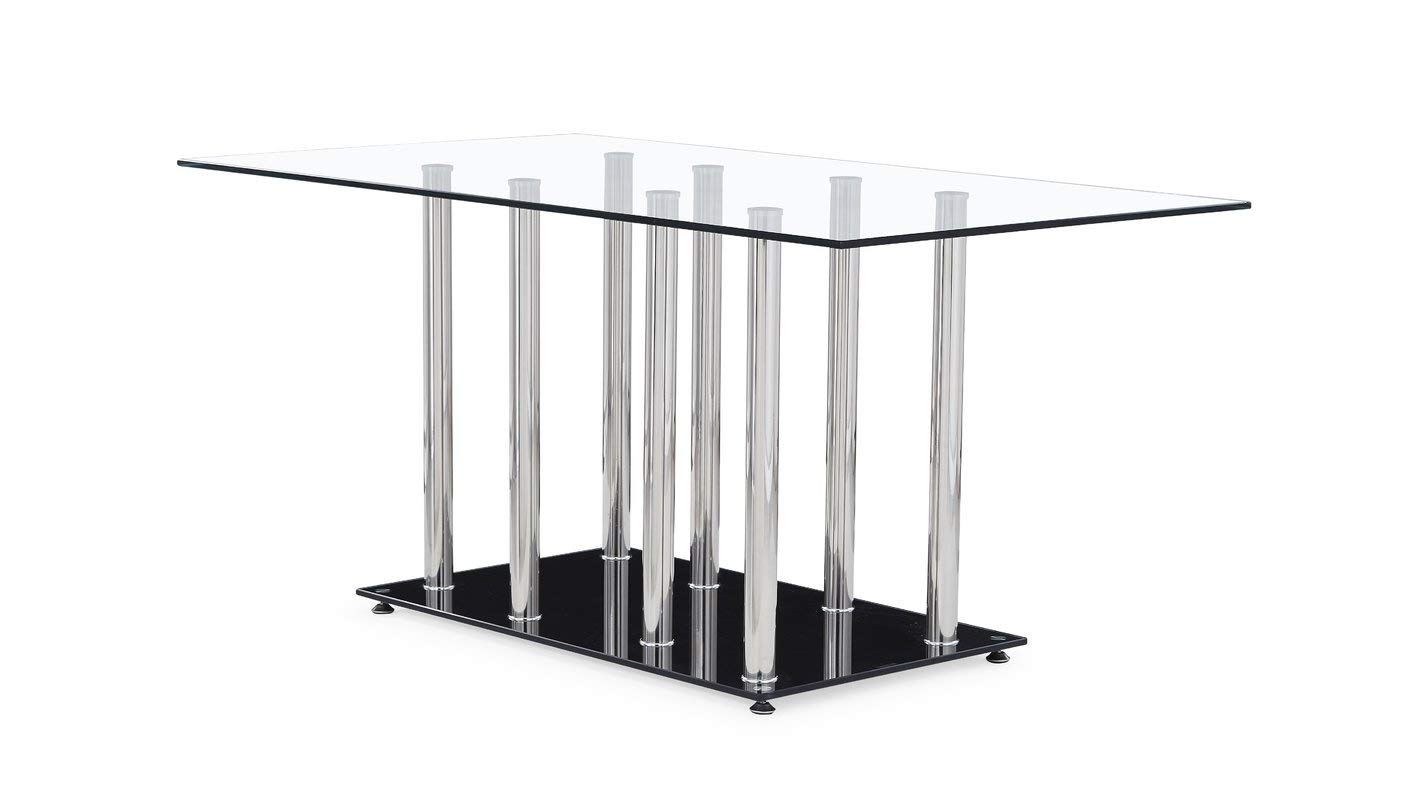 Steel Base Rectangular Dining Table - Dining Table with Glass Top - Chrome