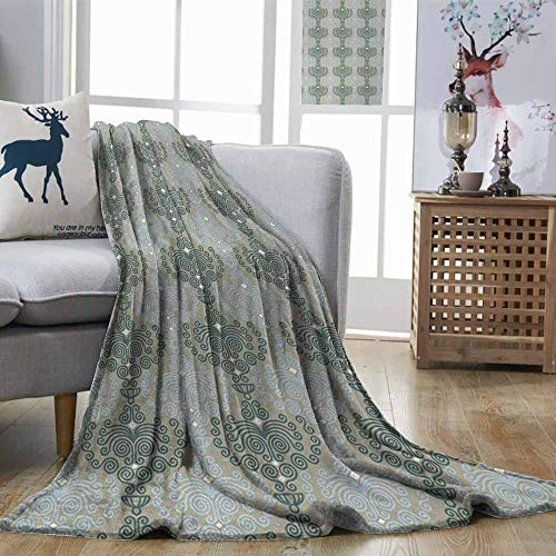 (DILITECK Floral Anti-Wrinkle Blanket Abstract Art Damask Desgin Floral Ornament Background Wallpaper Pattern Print Easy Travel Blue and Taupe W70 xL84)