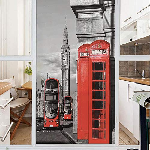 Decorative Window Film,No Glue Frosted Privacy Film,Stained Glass Door Film,London Telephone Booth in The Street Traditional Local Cultural Icon England UK Retro,for Home & Office,23.6In. by 59In Red