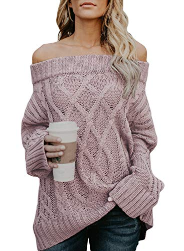 Astylish Women's Long Sleeve Off Shoulder Casual Oversized Knitted Sweater Pullovers Medium 8 10 Pink
