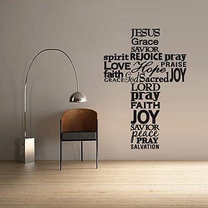 Wall decal vinyl sticker decals art decor design cross jesus christ god psalm religion prayer writing