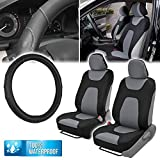 xterra steering wheel cover - Waterproof Car Seat Covers & GripDrive Synthetic Leather Steering Wheel Cover (Black & Gray - Basic Pack)