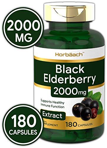 Horbaach Black Elderberry 2000 mg 180 Capsules | Immune Support | Non-GMO, Gluten Free | Sambucus Herbal Extract Supplement ()
