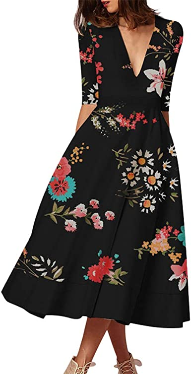 ODGear Dresses for Women Summer Casual Sleeveless O-Neck Floral Print Patchwork Tank Tops Maxi Long Dresses