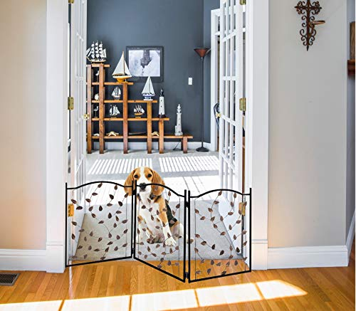 Zoogamo 3 Panel Leaf Design Metal Pet Gate – Durable Lightweight Extra Wide Expandable & Folding Home/Indoor/Outdoor Dog…