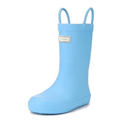 1f1e8efd5 KushyShoo Kids' Wellies with Reflective Stripes and Handles for Boys and  Girls, Wellington Rain
