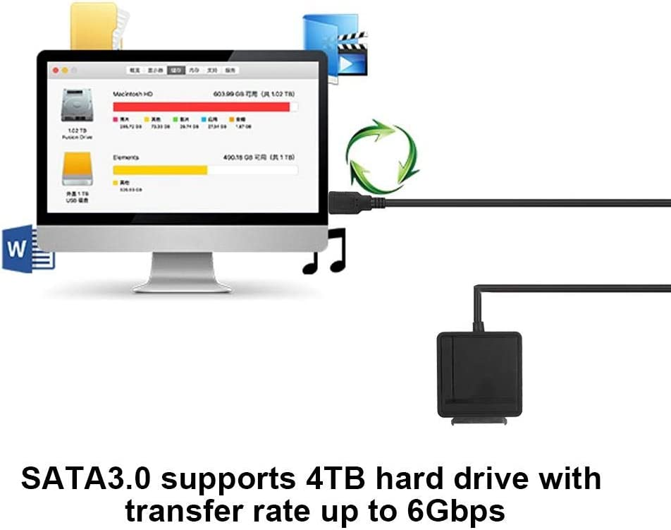 Suchinm USB3.0 Card Reader USB 3.0 to SATA III Memory Card/&TF Card Reader Converter Adapter for PC Laptop