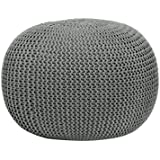 Round Knit Pouf, Gray