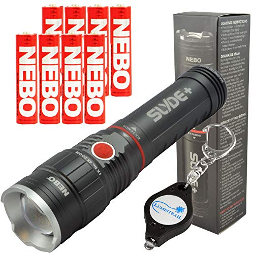 Nebo Slyde+ (Plus) 6525 LED Flashlight Worklight with 8 Nebo AAA Batteries and Lumintrail Keychain Light ()