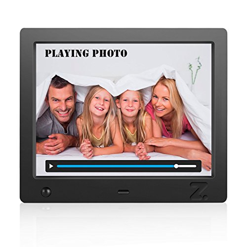 Musical Digital Photo Frame 8 inch, Picture Auto Play, HD Video 1080P (Black) by ZCOTU