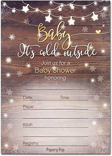 30 Baby Shower Invitations for Boy or Girl with Envelopes (30 Pack) - Baby It's Cold Outside - Gender Neutral - Fits Perfectly with Rustic Wooden Baby Shower Decorations and Supplies