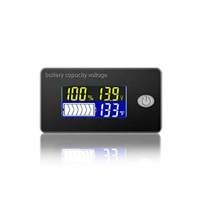 Battery Capacity Voltage Meter 0-179℉ Temperature Monitor 12V 24V 36V 48V Lead Acid Battery Lithium Battery Gauge Meter (48V): Home Improvement