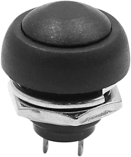 sourcing map 12V-24V 12mm Black Round 2 Terminal Momentary Car Motorcycle Push Button Switch