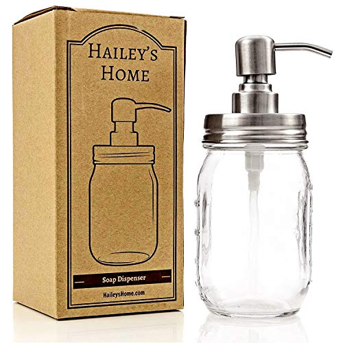 Glass Jar Soap Dispenser - Silver Liquid Pump for Bathroom & Kitchen - Rust Proof Stainless Steel ()