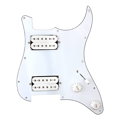 Loaded Electric Guitar Pickguard Scratchplat With 2 Humbucker Pickups For  Strat Replacement (White)