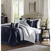 Madison Park Amherst 7 Piece Comforter Set - King - Navy