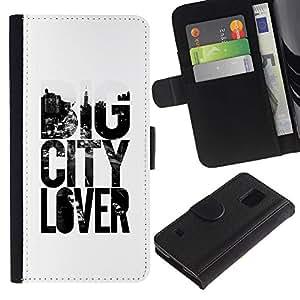 iBinBang / Flip Funda de Cuero Case Cover - Gran amante de la ciudad Lema Texto Blanco Negro - Samsung Galaxy S5 V SM-G900