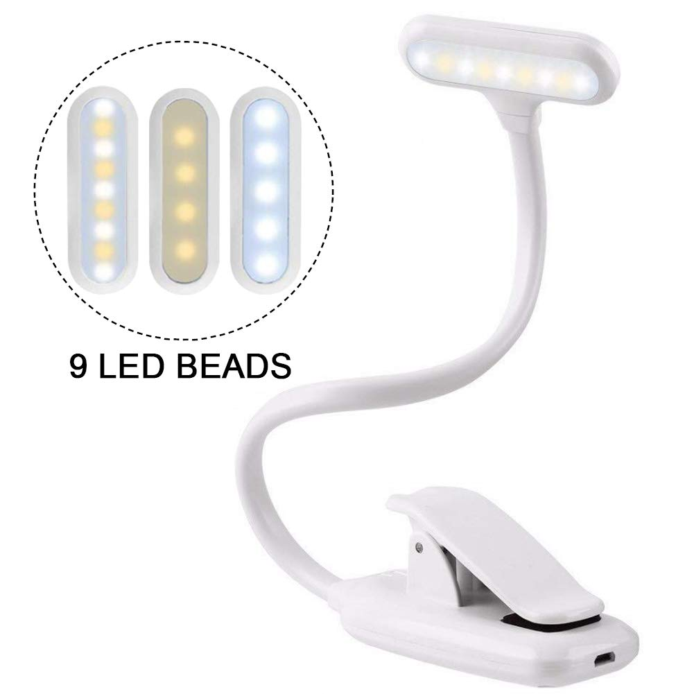 Clip On Reading Light, VOYOMO 9LEDs 3 Lighting Modes Brightness Adjustable Book Light Eye-Care for E-Reader Night Reading Computer Music Stand (White)