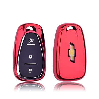 GEERUI Compatible with Chevrolet Key Fob Case Shell Cover TPU Protector Holder with Key Chain for Chevrolet Chevy 2020 2020 2020 2020 2016 Malibu Camaro Cruze Traverse Keyless Entry (Red): Automotive