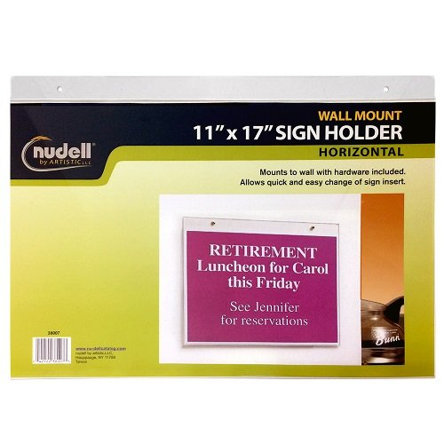 17'' x 11'' Horizontal Wall Mount Sign Holder, Clear by Nudell