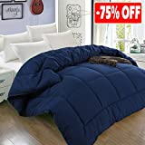 All Season King Goose Down Alternative Quilted Comforter with Corner Tabs - Hypoallergenic -Double Plush Fabric -Super Microfiber Fill -Machine Washable - Duvet Insert & Stand-Alone Comforter - Navy