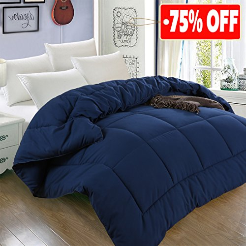 All Season King Goose Down Alternative Quilted Comforter with Corner Tabs – Hypoallergenic -Double Plush Fabric -Super Microfiber Fill -Machine Washable – Duvet Insert & Stand-Alone Comforter – Navy