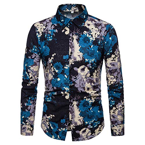 Shirts with Button-Down Collar Standard-Fit Long-Sleeve Autumn Winter Patchwork Fastener Sweatshirts Top Blouse Men (XL,2- Blue) -