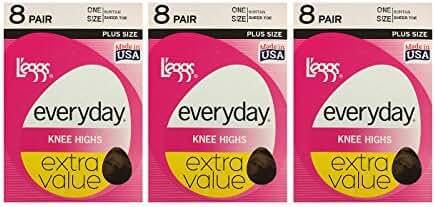 L'eggs Women's Plus-Size Everyday Knee High Sheer Toe Panty Hose