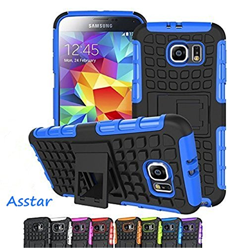 Galaxy S7 Case, Asstar [Stand Feature] Hybrid ShockProof Dual Layer Tire grain with Kickstand Protective for Samsung Galaxy S7 (Blue)